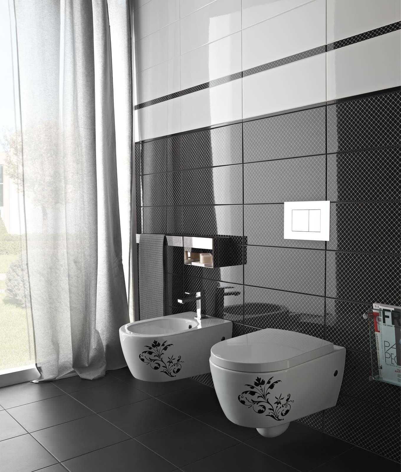 Black white azulejos ba o y cocina marazzi for Azulejos bano y cocina