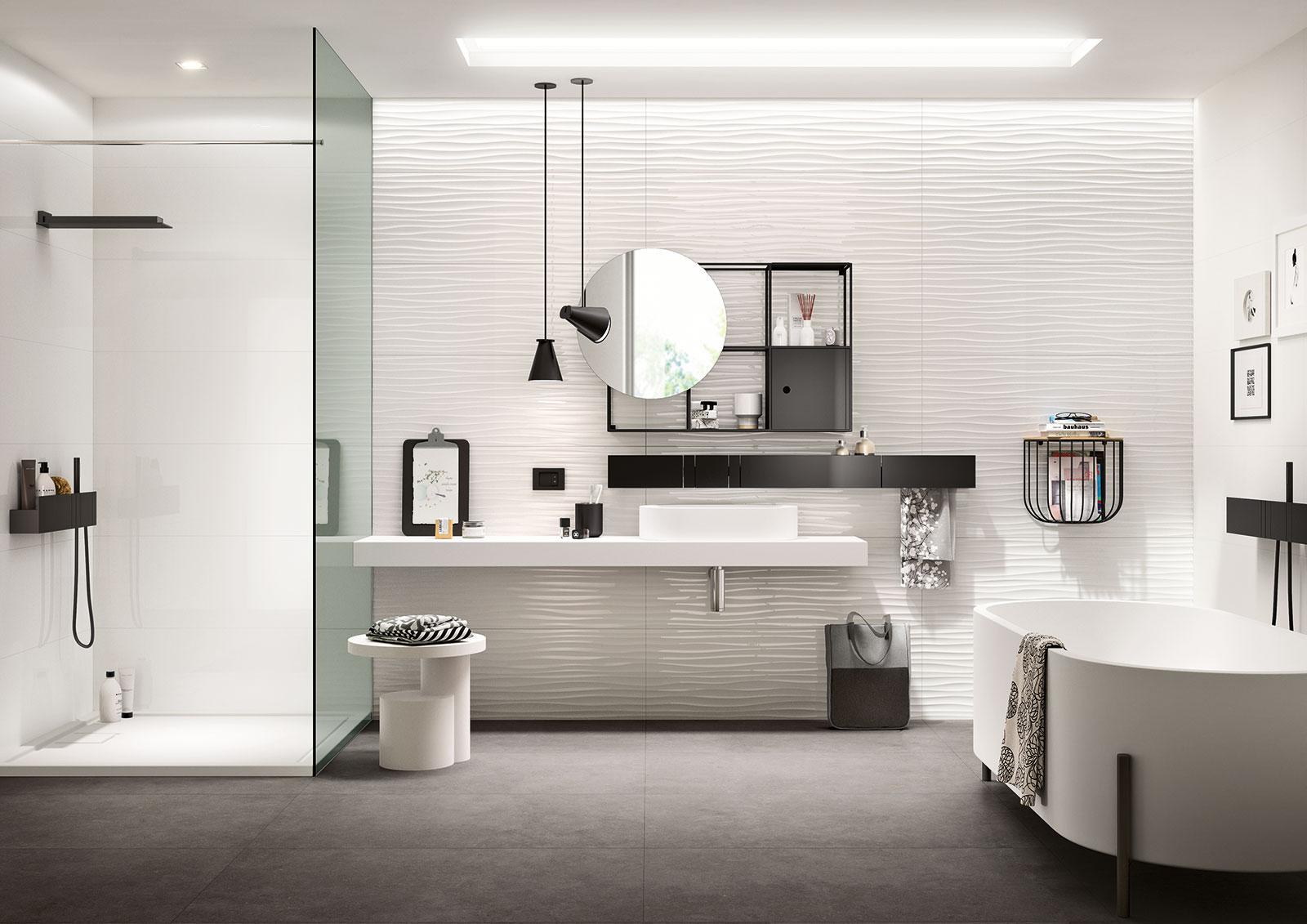 Essenziale cer mica blanca para ba os de estructuras for Casa essenziale